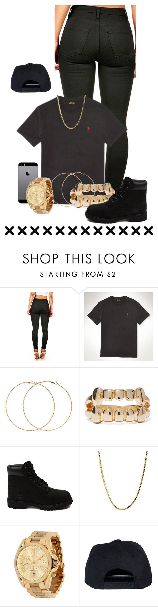 """All black , all day"" by laylay-023 ❤ liked on Polyvore featuring Polo Ralph Lauren, Samsung, Forever 21, Timberland, Michael Kors, women's clothing, women, female, woman and misses"