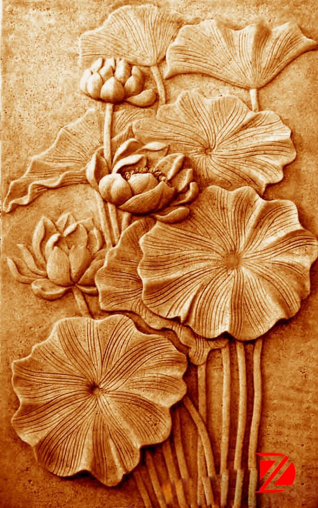 Stone Relief Flower Carving Decorative Wall Panels And