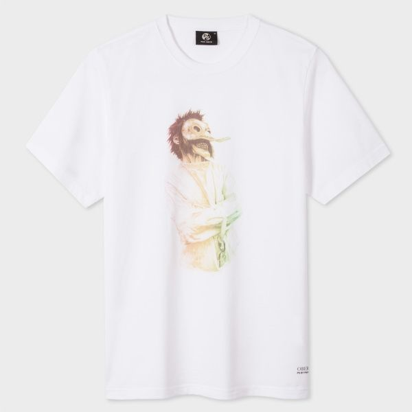 Paul Smith Men's White 'Oberon' Shakespeare Print Organic-Cotton T-Shirt