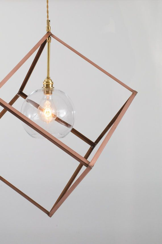 Lámpara colgante - iluminación - moderno cubo de cobre con ...