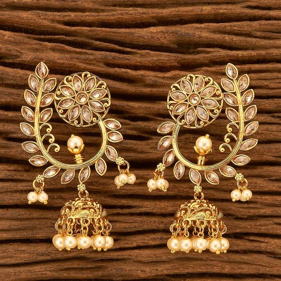 Pakistani Indian Weddings Earrings Jewelry Bollywood Jhumka Gold Pearl