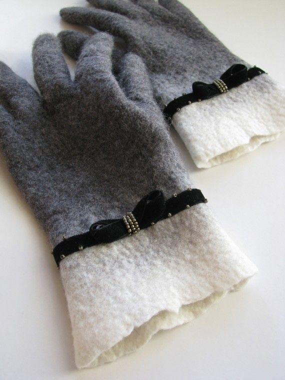 Felted grey gloves velvet embroidered decor by AureliaFeltStudio