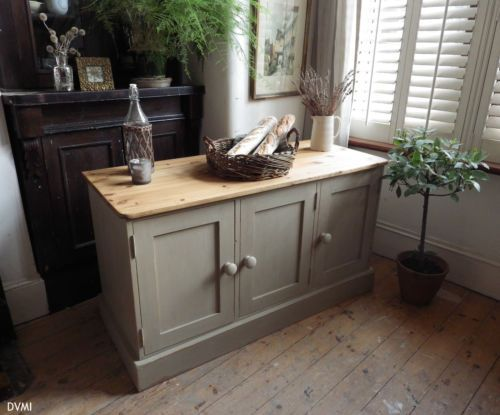 Pretty-Painted-Shabby-Chic-Vintage-Pine-Sideboard-Cupboard  Annie Sloans Country Grey