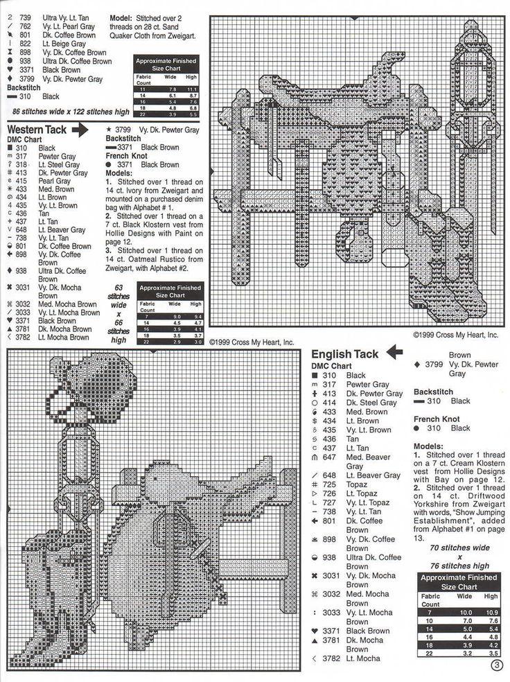 Schematic cross stitch Horses 04