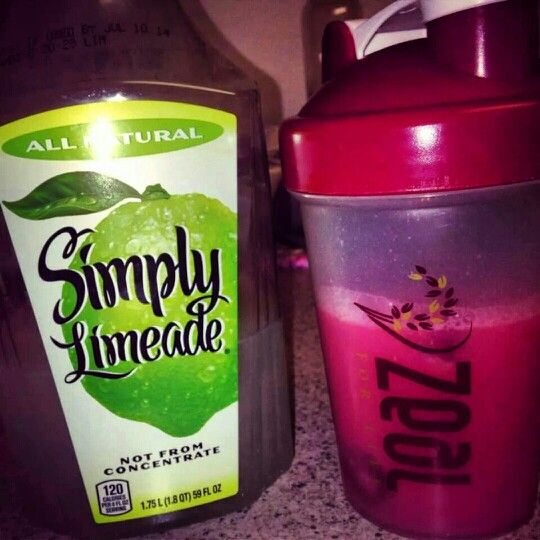 4oz of water 4oz of simply limeade and one scoop of wild berry ZEAL wellness. Shake and drink! Taste like a cherry limeade (;