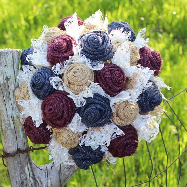 Navy and Wine burlap wedding bouquet / maroon and navy / wine and marine / rustic wedding bouquet / burlap and lace / bridal bouquet / bride by GypsyFarmGirl on Etsy