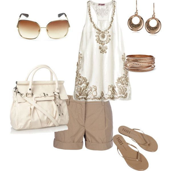 Neutrals: Wear Shorts, Summer Casual, Fashion Style, Summer Shops Outfit, Casual Khakis, Cute Outfit, 18 Outfit, Clothing Shoes Pur, Polyvore So