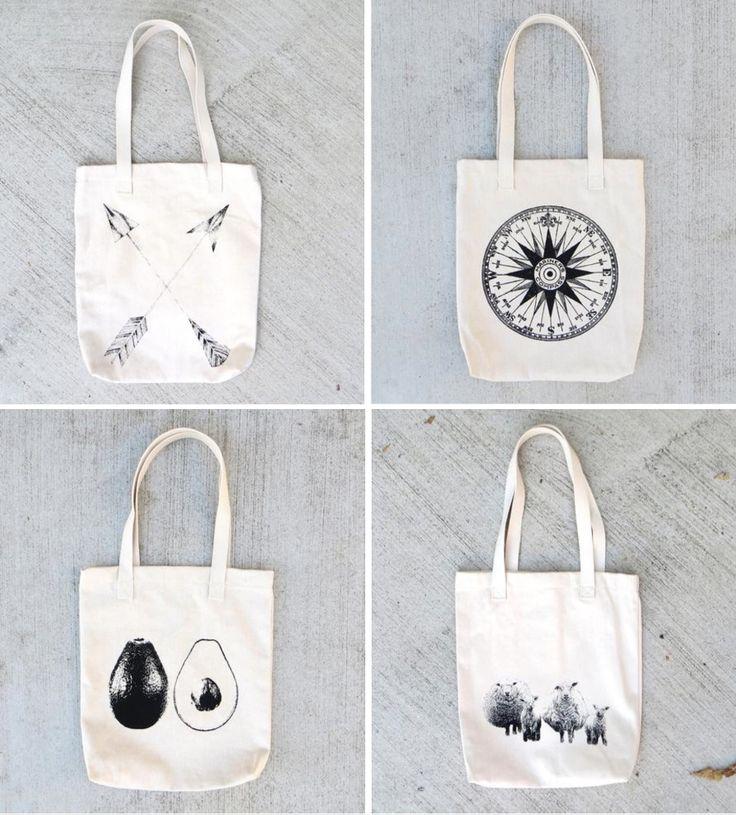 Cute Screen Printed Tote Bags