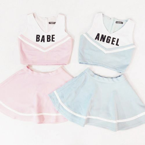 me and a friend in each of these: both with high curly ponytails, looking like cheerleaders. we hold a cute drink or snack that has the same color as the outfit we're wearing, like pocky or a milk drink or something. the vibe of the photo is cute and it kinda looks like a more pastel-aesthetic version of Riverdale.