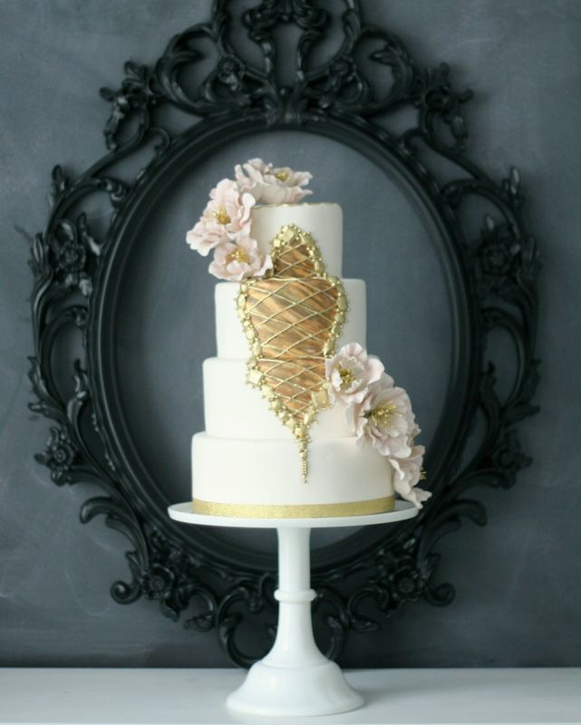 Gold and floral vintage style wedding cake by the Caketress