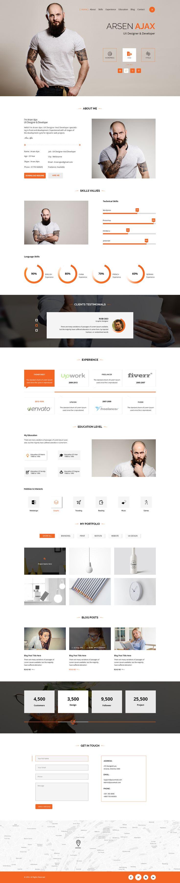Arsen Personal CV/Resume PSD Template • Download ➝…
