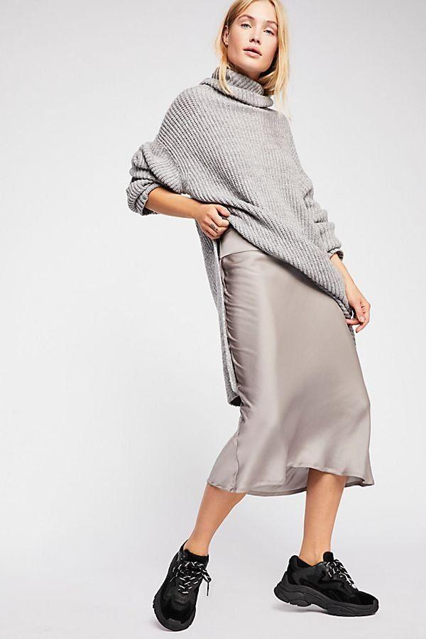 4151c790d9ea8 Normani Bias Skirt - Silk Satin Silver Gray Midi Skirt - Best Fall Skirts