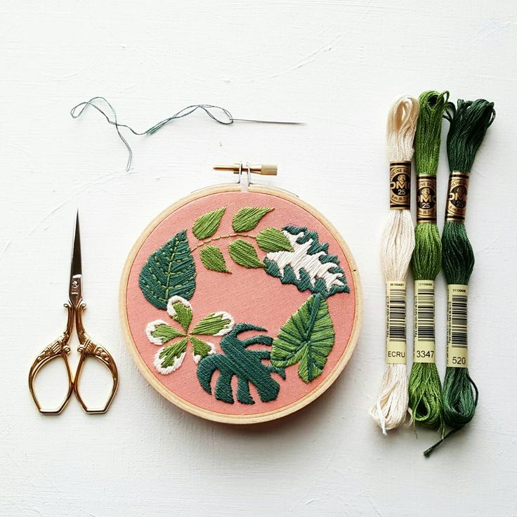 Hand Embroidery KIT: Tropical Plants - Beginner Needlepoint Design - Modern Contemporary Embroidery Pattern - Satin Stitch Plants from NamasteEmbroidery on Etsy Studio