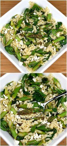 Lemon Orzo Salad with Asparagus, Spinach, and Feta on twopeasandtheirpod.com