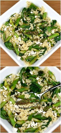 Lemon Orzo Salad with Asparagus, Spinach, and Feta on twopeasandtheirpo.... Love this fresh and healthy salad!