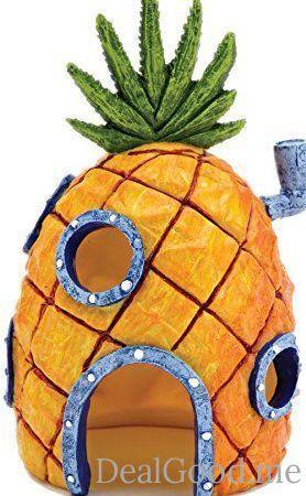 Nickelodeons SpongeBob SquarePants Small 6 Inch Pineapple House Aquarium Ornament from Penn Plax  Durable Resin Safe for All Fish