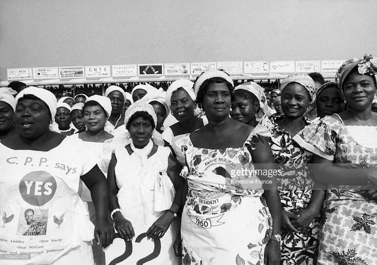 Some Women Showing The Yes And The Name Of President Kwame Nkrumah On A Referendum At The Stadium Of Accre In Ghana On January 29, 1964.