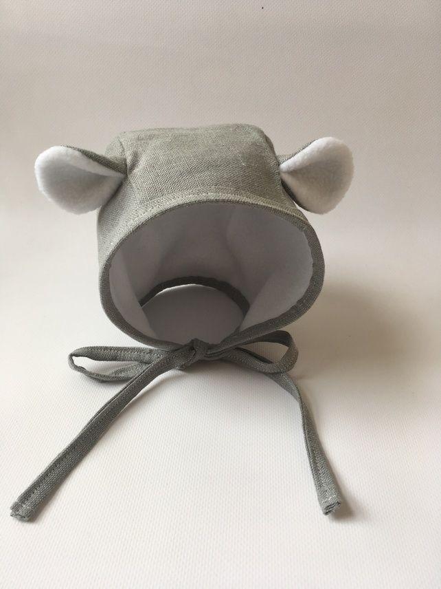 Grey linen bear bonnet