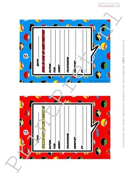 Superhelden verjaardags uitnodigingen. http://printpret.nl/Superheld%20feestpakket