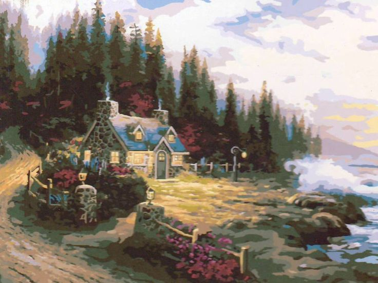 "Картина по номерам ""Дом у елового леса"", фото 1"