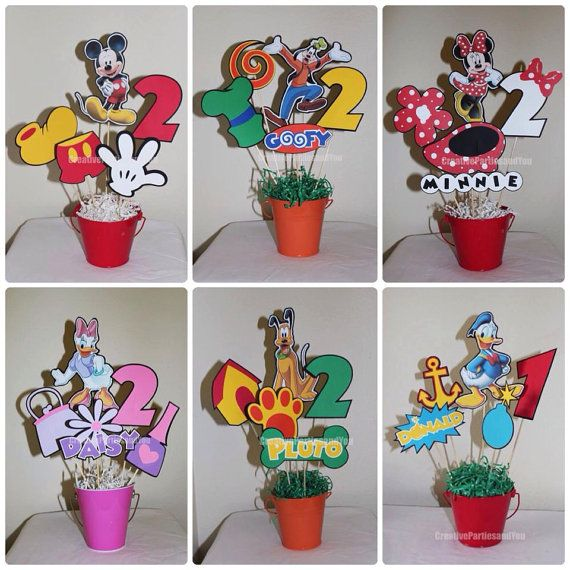 This listing does NOT include the Buckets. The listing is only for a kit of 6 centerpieces (5 Die Cuts each) from Mickey Mouse Clubhouse. You