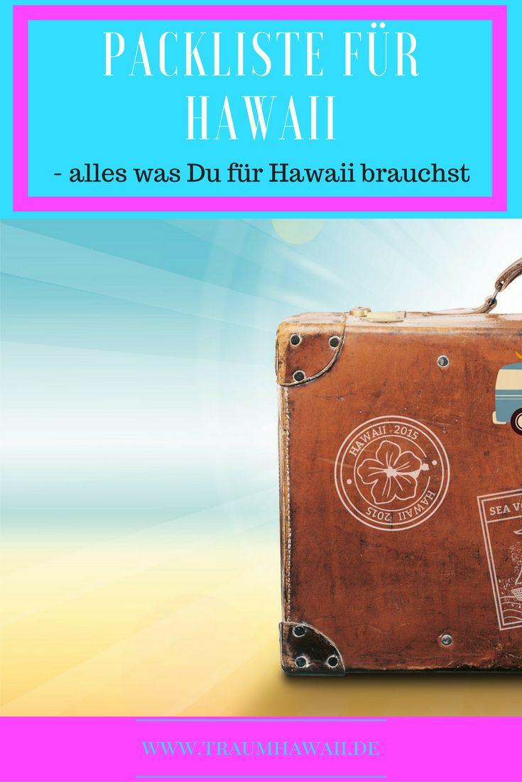 Du planst nach Hawaii zu gehen, bist Dir aber absolut nicht sicher was Du mitnehmen sollst? Hier kommt Deine Packliste für Hawaii. Urlaub auf Hawaii mit dem richtigem Gepäck im Koffer. www.traumhawaii.de