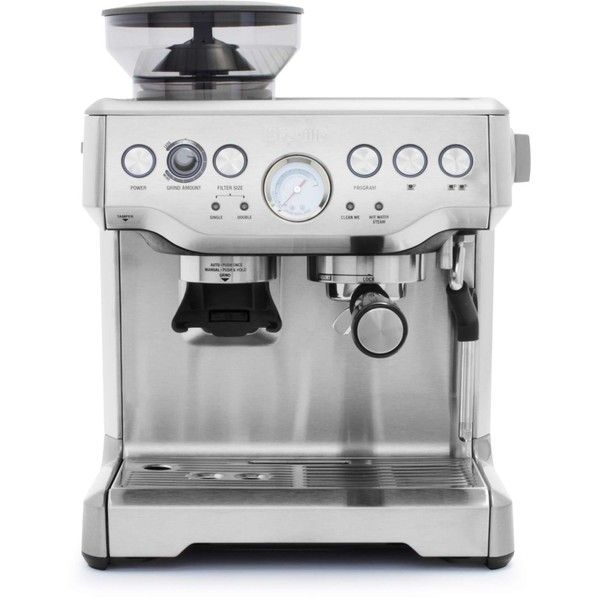 Breville Barista Express Espresso Machine ($600) ❤ liked on Polyvore featuring home, kitchen & dining, small appliances, breville, espresso cappuccino machine, breville cappuccino maker, stainless steel boiler and espresso machines