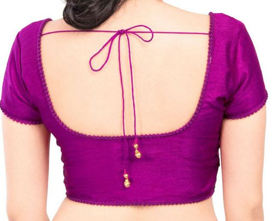 Designer Saree Blouse Purple Color Fabric Beads by FabricNBits
