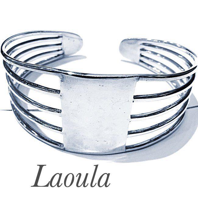 Bracelet en argent rigide et ajustable , bijoux ethniques