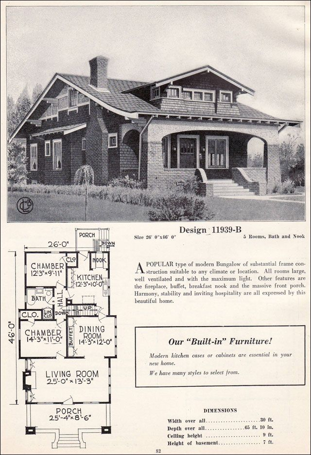 Design 11939 b c 1923 c l bowes co this craftsman for Chicago style bungalow floor plans