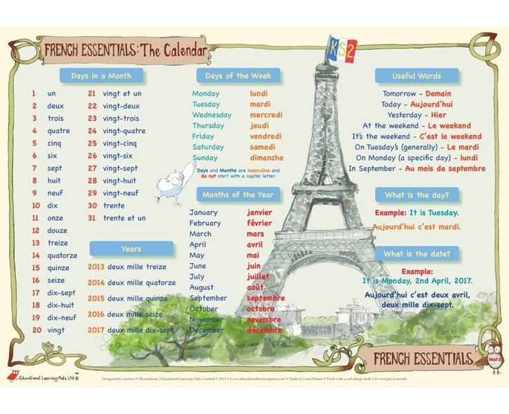 French Essentials: The Calendar – Mat 2  · Help with learning French – days in a month, days of the week, months of the year, years, and other useful words and phrases for Key Stage 2 & 3 (age 7 to 13)  · The simple rules and phrases for describin