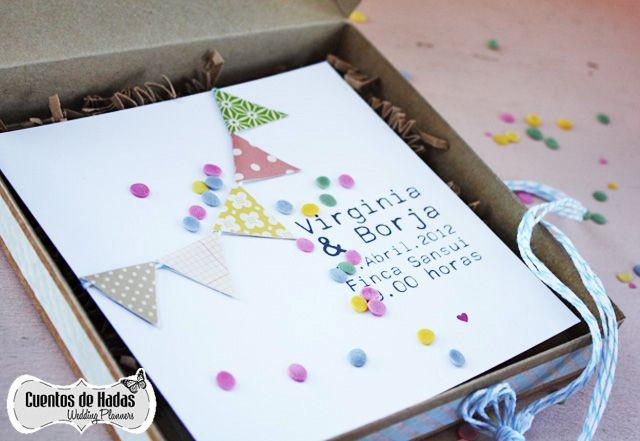 Bodas de Cuento { Wedding Planners }: LAS INVITACIONES DE LA BODA DE VIRGINIA Y BORJA, VIVAN LAS GUIRNALDAS!!