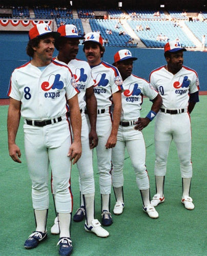 Gary Carter, Andre Dawson, Steve Rogers, Tim Raines and Al Oliver in the old Montreal Expos uniforms.