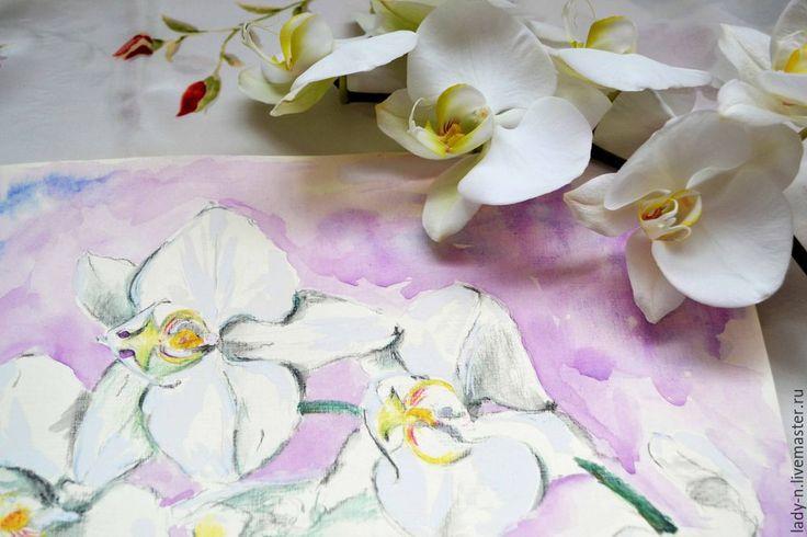 """Купить """"Орхидеи"""", смешанная техника - разноцветный, орхидея, цветок, картина, прозрачность, белый, слоновая кость"""