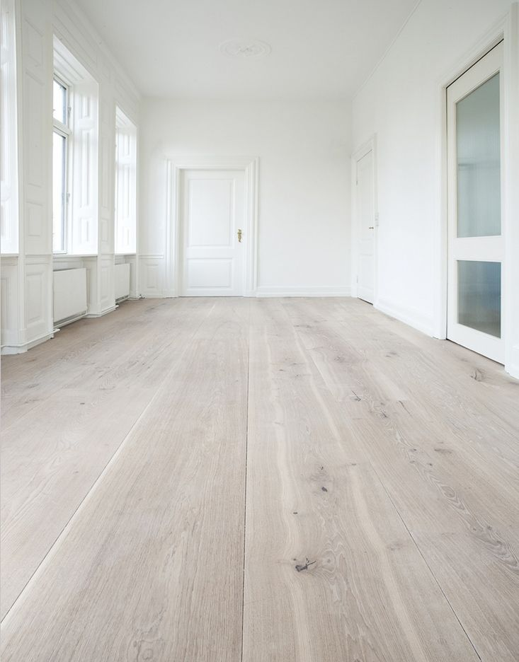 white washed pine floors - wide board, smooth long planks probably $$$                                                                                                                                                                                 More