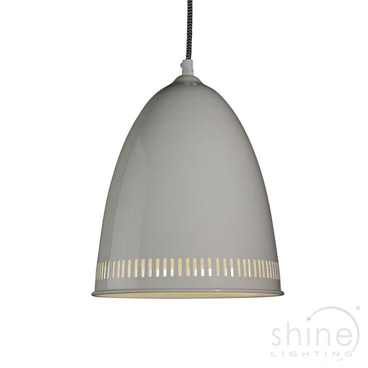 Industrial Single Pendant Ceiling Light Cream Coloured Aluminium 5933CR Searchlight