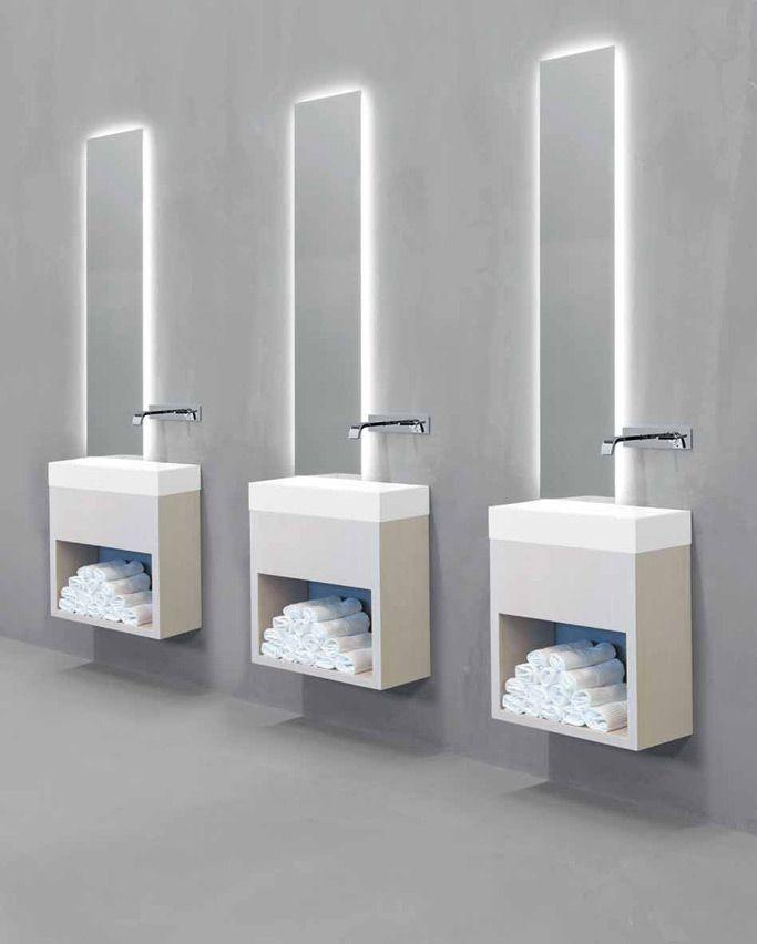 Minimalist washbasin for hotels and public areas, Lavamani by Rifra _