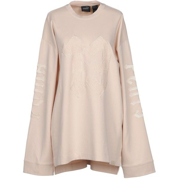 Fenty Puma By Rihanna T-shirt (3,450 THB) ❤ liked on Polyvore featuring tops, t-shirts, beige, jersey t shirt, long sleeve tees, lace tops, puma t shirts and pink long sleeve t shirt
