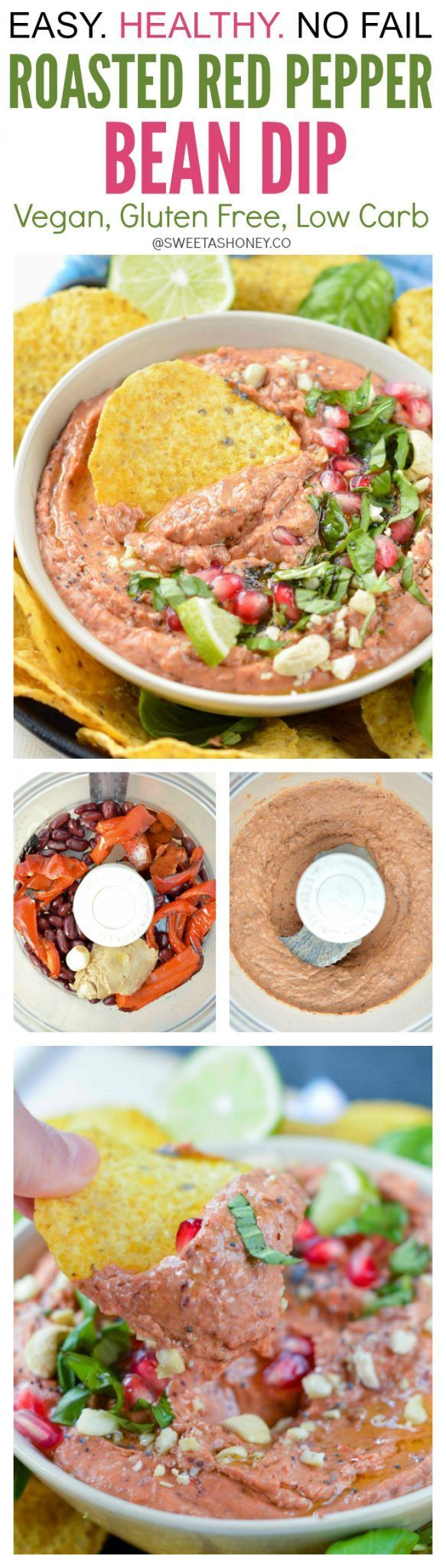 This Easy Roasted Red Pepper Bean Dip Recipe is an Healthy Dip alternative to hummus recipes. Ready in 10 minutes, packed with protein from red kidney beans and nut butter. A great vegan appetizer to dip mexican corn chips or a lovely vegan spread for sandwiches. Best summer dip
