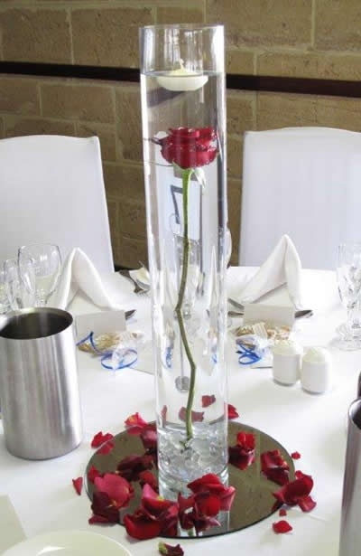 Single red rose in cylinder vase jazzy s wedding