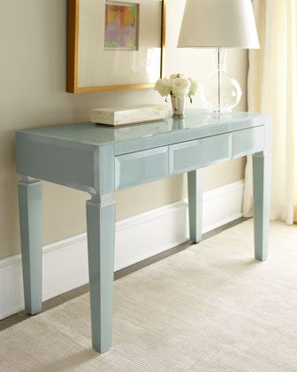 """This is exquisite!!! Light Blue Translucent Glass Desk at Horchow. Use it as a desk; use it as a console; however you use it, this beautiful translucent glass desk adapts to any decor. Imported.  Made of plain beveled mirror and silver-leafed composite wood.  Three drawers.  48""""W x 20""""D x 30"""