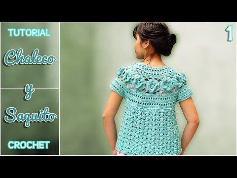 Chaleco y saquito a crochet para niña, paso a paso (1 de 2) - YouTube