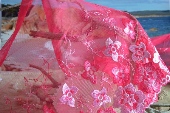 wide lace hot pink floral design tulle lg008 by TheQuiltedCheese