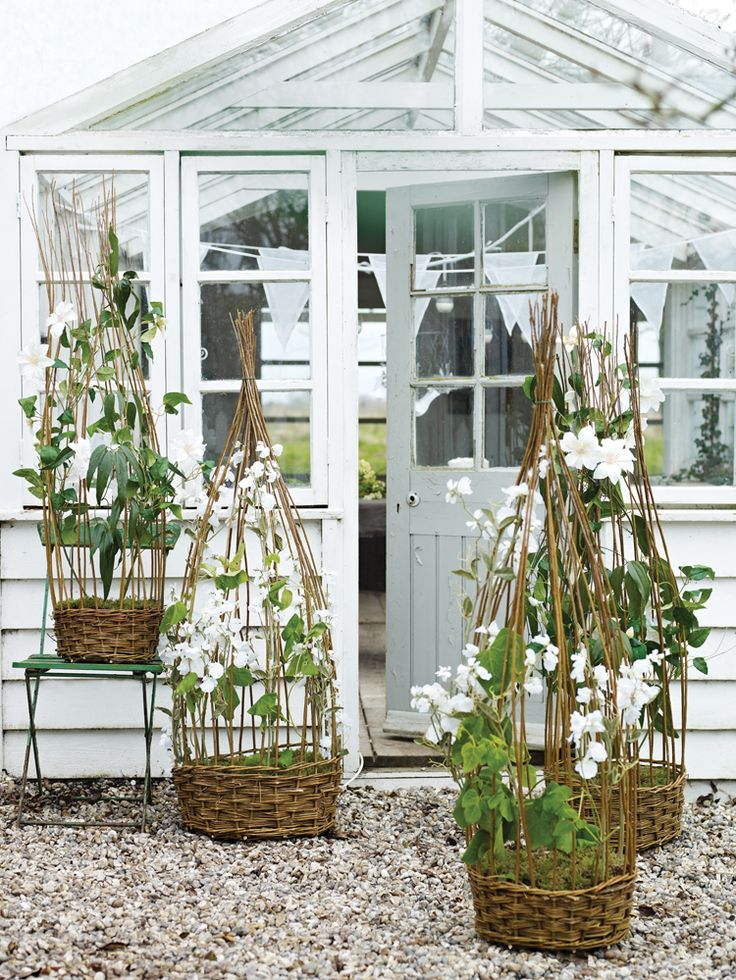 Love those baskets, each with a built in trellis.
