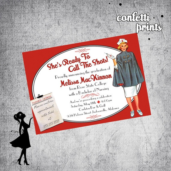 91 best nurse graduation announcements invitations images on nurses call the shots invitation announcement graduation cards at invitationsbyu stopboris