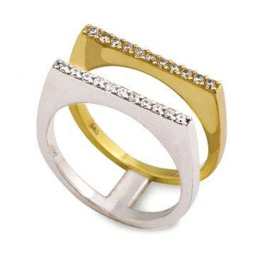 Μοντέρνο με παράλληλα σειρέ δαχτυλίδι λευκόχρυσο και χρυσό Κ14 με ζιργκόν | Κόσμηματα και δαχτυλίδια ΤΣΑΛΔΑΡΗΣ στο Χαλάνδρι #σειρε #ζιργκον #λευκοχρυσο #χρυσο #δαχτυλίδι
