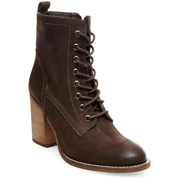 Steve Madden Lauuren Leather Ankle Boots ($104) ❤ liked on Polyvore featuring shoes, boots, ankle booties, brown, leather lace up booties, brown ankle booties, brown lace up boots, leather lace up boots and leather booties