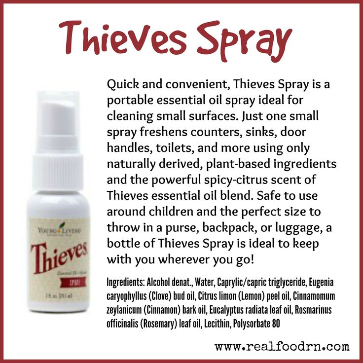 Thieves Spray is a portable essential oil spray ideal for cleaning small surfaces. #thievesspray #essentialoils #youngliving