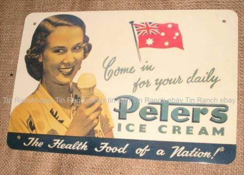 NEW OLD Fashioned Peters ICE Cream TIN Sign Australian Vintage Metal Picture 40s
