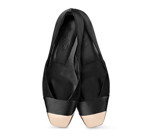 Lys Hermes ladies' ballerina flat in satin and suede goatskin, rose gold plated cap, leather sole, leather lining